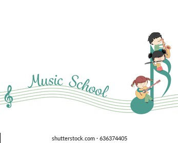 Music school web banner vector template with children and many instrument - isolated on white background
