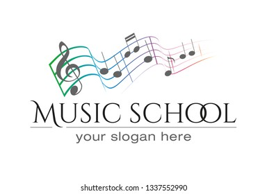 Music scool logo with colorfull notes