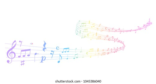 Music score colorful background