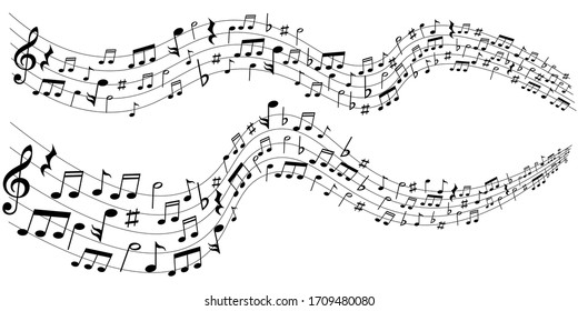 Music score silhouette music background