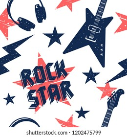 Music seamless pattern. Endless vector background with rock music attributes and simbols