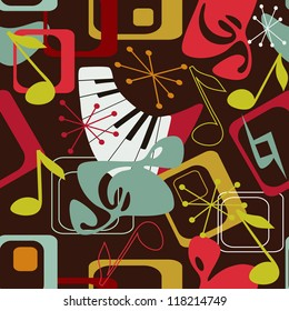 Music seamless pattern in retro style