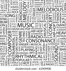 MUSIC. Seamless vector pattern with word cloud. Illustration with different association terms.
