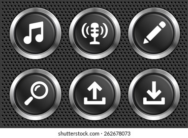 Music Search and Download on Black Round Buttons