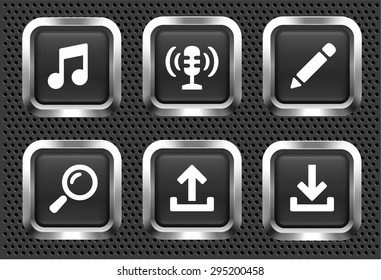 Music Search and Download on Black Square Buttons