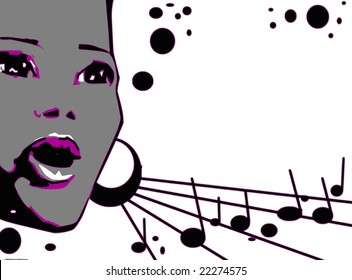 music series - jazz woman singing jazz, gospel or other portrait -cartoon style (not any particular person)