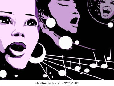music series - jazz woman singing jazz, gospel or other portrait - cartoon style (not any particular person)