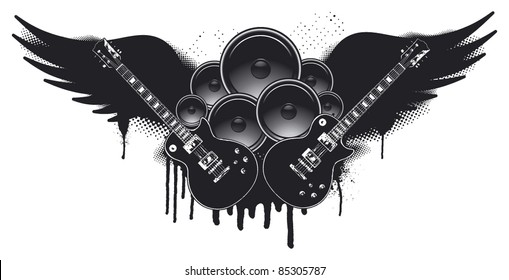 music shield with wings speakers and guitars
