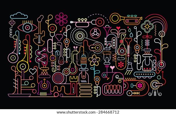 Music Shop Abstract Art Vector Illustration Stock Vector