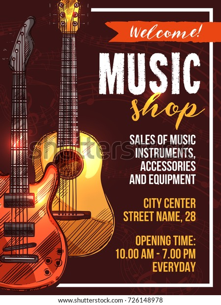 Music Shop Poster Template Musical Instruments Stock Vector