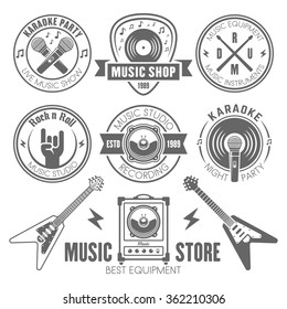 Music shop, recording studio, karaoke club monochrome labels, badges, emblems and logos, set of vector design elements isolated on white background