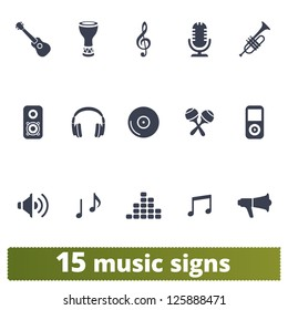 Music signs: vector set of icons