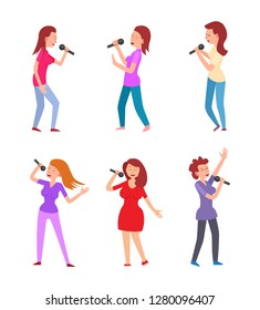 Music singers characters with microphones performing vector. Singing ladies dressed in formal and stylish clothes, vocalists with mike dancing performers