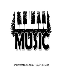 """Music Sketches with text """"music"""" . Vector illustration."""