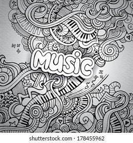 Music Sketchy Notebook Doodles. Hand-Drawn Vector Illustration
