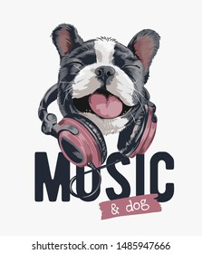 music slogan with happy dog on headphone illustration
