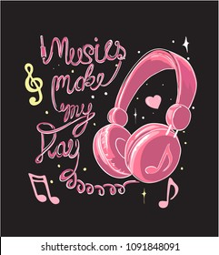 music slogan with headphone illustration