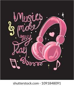 music slogan with headphone illustration