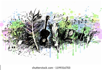 Music, song, poetry. Guitar, writing feather, books, music notes, calligraphical elements. Background from bright watercolor splashes. Hand drawn engraving vintage vector illustration