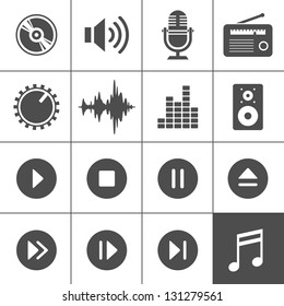 Music and sound icons. Vector illustration. Simplus series