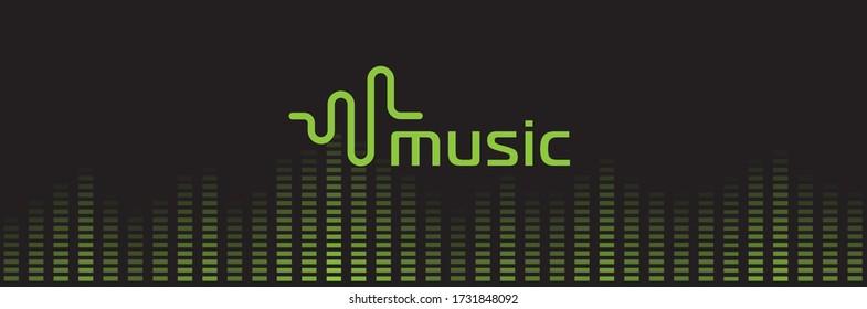 Music sound recorder logo. Audio equalizer logotype. Waveform tunes playback icon. Isolated green digital record playlist vector illustration.