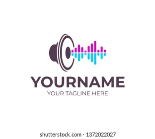 Music, sound speaker with sound waves, logo design. Musical, woofer, subwoofer and loudspeaker, vector design and illustration