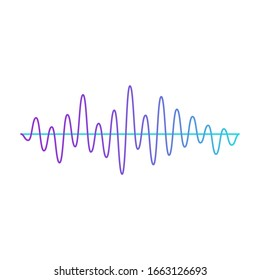 Music sound wave of amplitude colorful graphic icon. Audio digital equalizer technology and console panel image vector illustration isolated on white background.