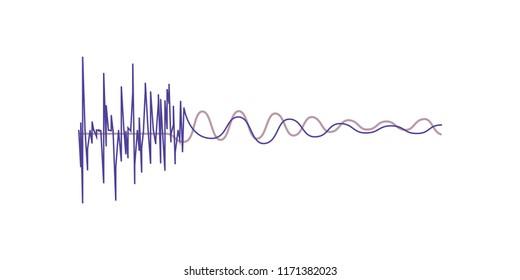 Music sound waves, audio digital equalizer technology vector Illustration on a white background