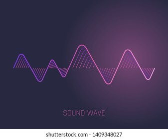 Music sound waves. Audio equalizer technology, pulse musical. Vector illustration.