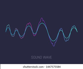 Music sound waves. Audio equalizer technology, pulse musical. Vector illustration