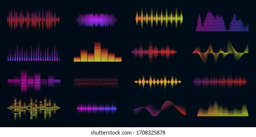 Music sound waves big colorful set. Music audio collection. Console panel. Electronic radio signal. Equalizer. Vector illustration.