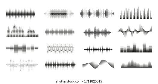Music sound waves big monochrome set. Console panel. Music audio collection. Electronic radio signal. Equalizer. Vector illustration.