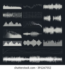Music sound waves isolated on a dark background.