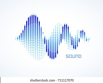 Music sound waves on white background. RGB Global colors