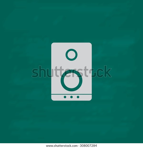 Music speakers. Icon. Imitation draw with white chalk on green chalkboard. Flat Pictogram and School board background. Vector illustration symbol