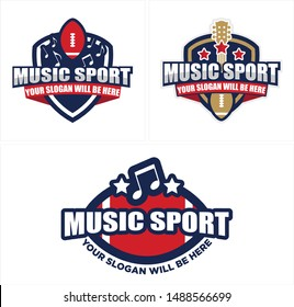 Music sport logo Badge with note musical guitar and rugby ball design creative suitable for team football league industry entertainment