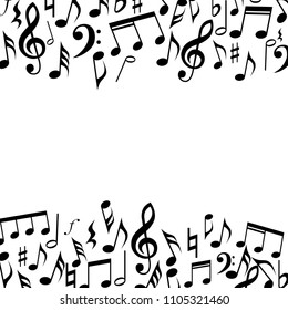 Music square border frame. Music notes and signs background frame.