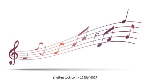 music staff. Abstract image of music. Decorative music staff. A vector image of a recorded tune.