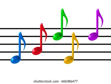 Music Staff and colorful notes on white background. 3d realistic vector illustration. Gradient mesh.