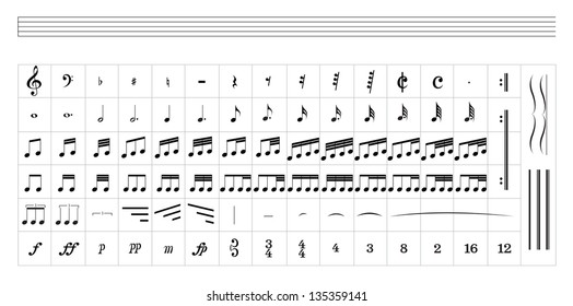 Music Staff Isolated on white Background. Vector EPS10