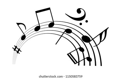 Music staff and notes vector icon isolated on white background