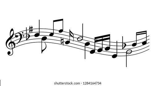 Music staff vector icon illustration isolated on white background