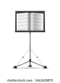 Music stand with musicbook . Vector musical design decoration element. Classic music notation flowing.