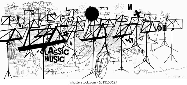 Music stands that are placed in large numbers