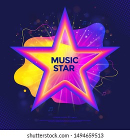 Music Star banner or party poster with colorful liquid form. Tv show label with gradient stars. Musical concert cover