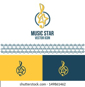 Music star logo idea. Vector illustration