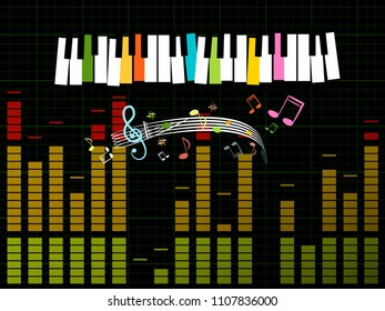 Music Studio Background with Keyboard, Frequency -  Gain Graph and Notes - Vector