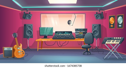 Music studio control room and singer booth behind glass. Vector cartoon interior with sound recording tools, guitar and synthesizer, audio mixer and microphone. Professional music workstation