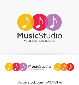 Music Studio, house music, symbol, melody, studio, record. Vector logo template