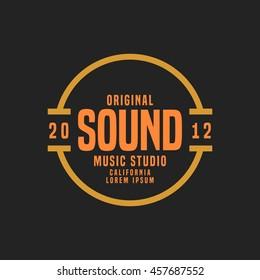 Music studio logo and badge vector illustration